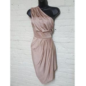 bebe one shoulder rouched dresd